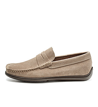 Suede loafers with band