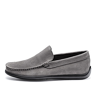Unlined punched suede slip-ons