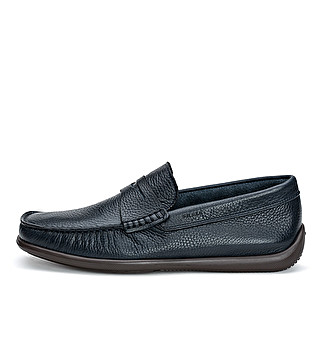 Leather loafer with bar