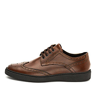 Leather casual lace up with dovetail design
