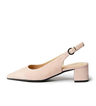 Suede heeled slingback