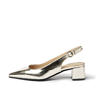 Leather heeled slingback
