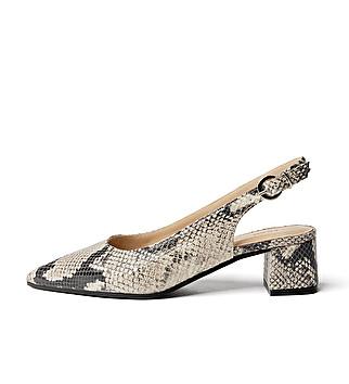 Animal print heeled slingback