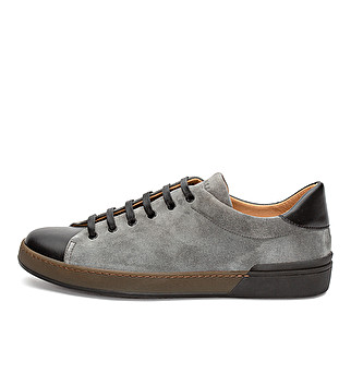 Suede and leather sneaker