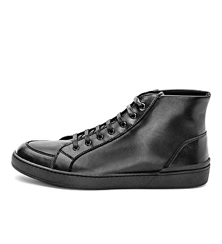 Leather sporty ankle boot