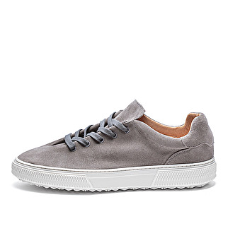 Suede expanding lacing sneakers