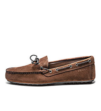 Suede loafers w/ woven lacing