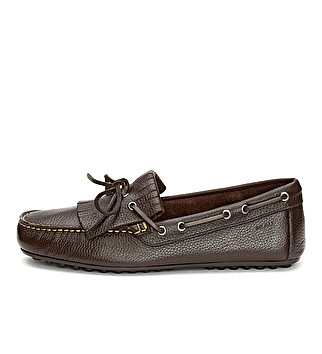 Leather driver loafer with fringe