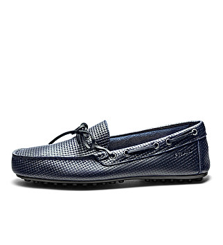 Print leather driver loafers