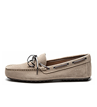 Suede loafers w/ two-tone lacing