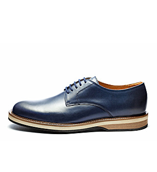 Leather derby three-color sole