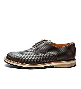 Printed leather derby with three-color sole