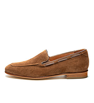 Suede loafers w/ leather sole