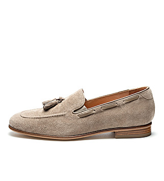 Suede tassels loafers w/ leather sole