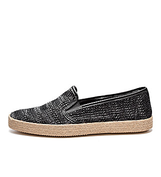 Summer interwoven fabric slip-ons