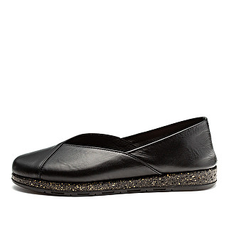 Block color leather ballet flats