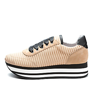 Pleated fabric platform sneakers 55edeb90dc4