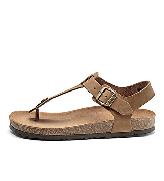 Nubuck toe-post sandals