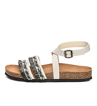 Leather and raffia sandal