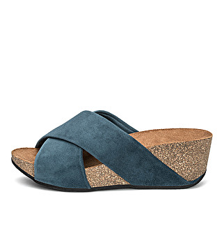 Double band suede wedge mule