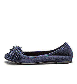 Suede ballet flats w/ frayed bow