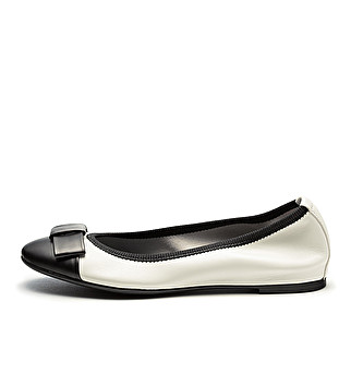 Leather bon-ton ballet flats