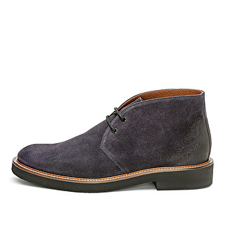 Suede ankle boot with leather welt