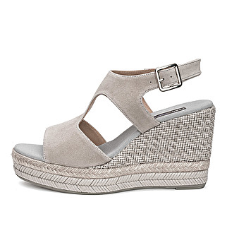 Suede wedge sandal with double band