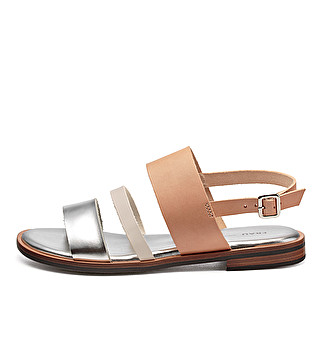 Leather triple-band sandals