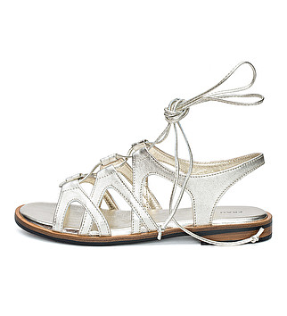Laminated leather sandal