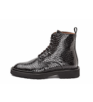 Coco print leather combat boot