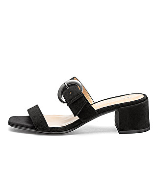 Suede mules w/ metal maxi-buckle