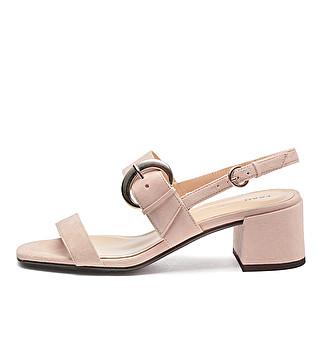 Suede sandals w/ metal maxi-buckle