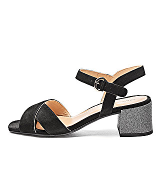 Suede sandals w/ glittery heel