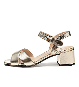Laminated leather crossover sandals