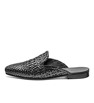 Woven leather slipper mules