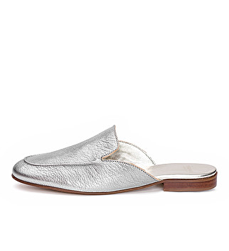 Slipper flat in pelle laminata