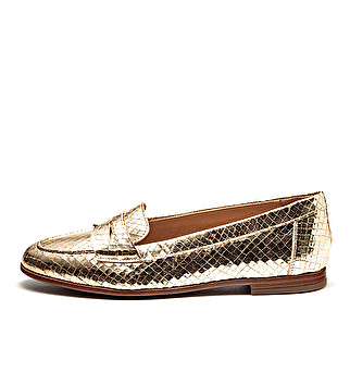 Printed leather tapered band loafer