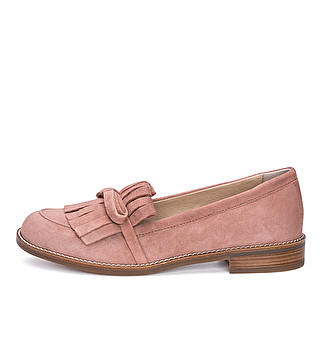 Suede loafer with bow