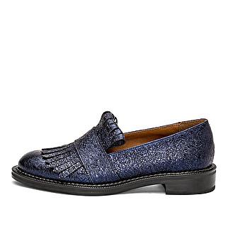 Loafer aus laminiertem Leder mit Zierfranse