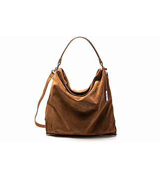 Suede hobo bag w/ laminated leather details