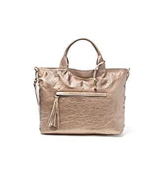 Shiny leather shopping bag