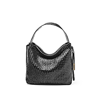 Woven leather shopping bag