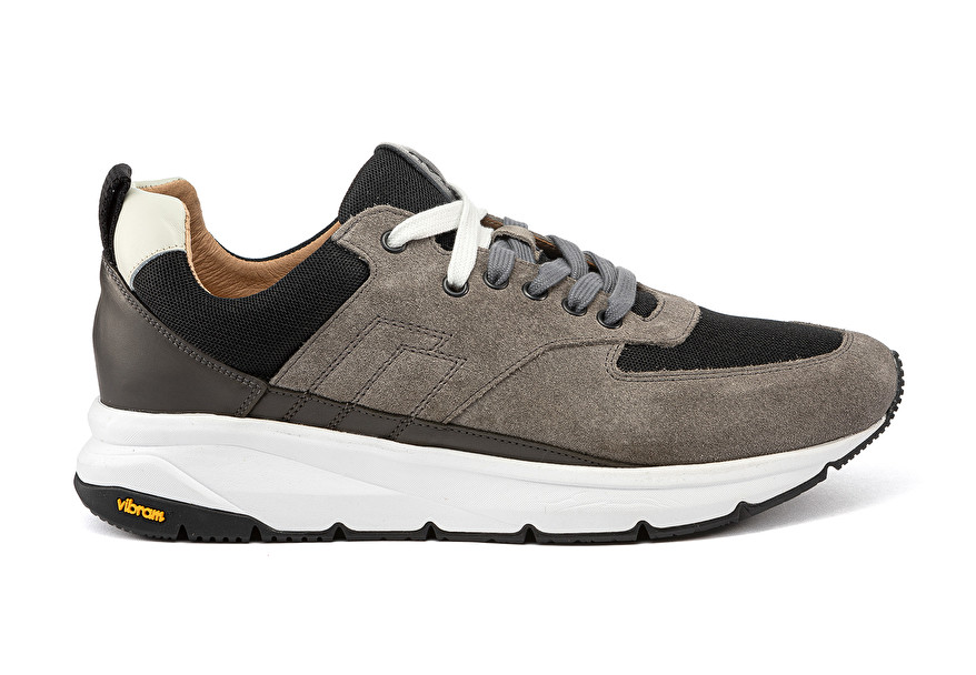 Vibram fabric and leather sneakers