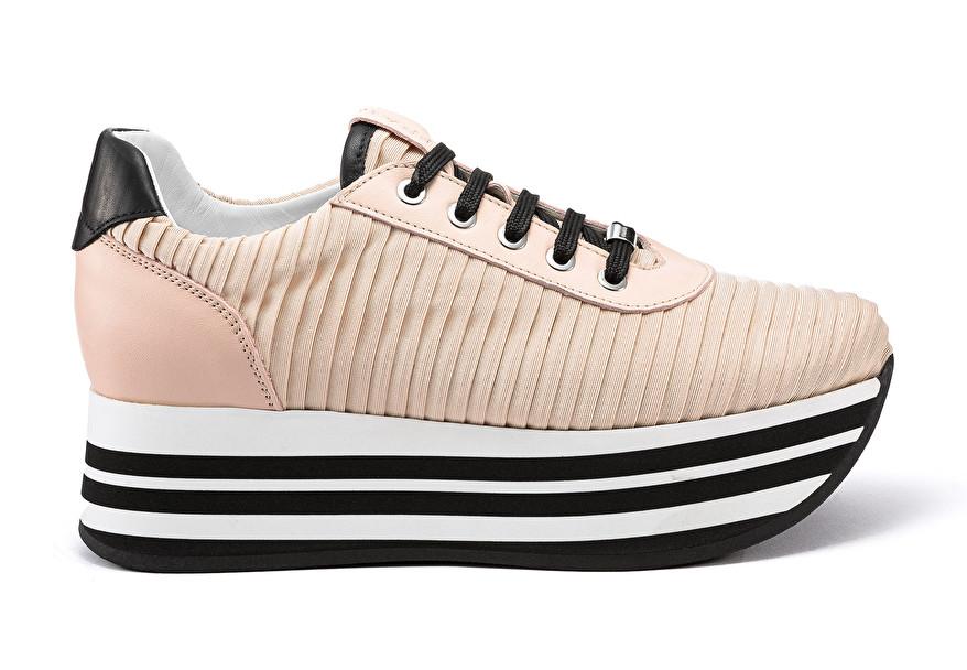 Pleated fabric platform sneakers