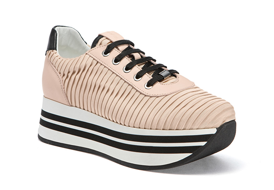 Pleated fabric platform sneakers, color